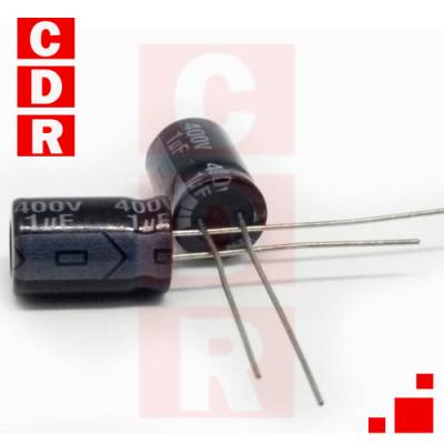 CAP. ELECTR. RADIAL 1UF 400V 105° 12X8MM REC