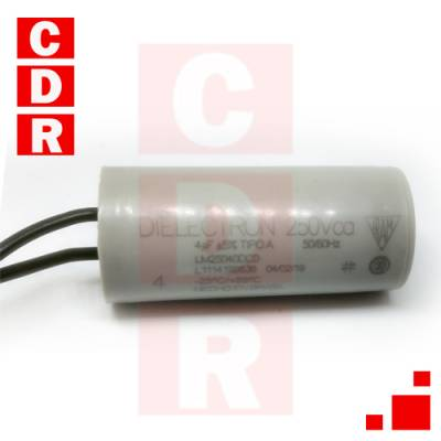 CAPACITOR 4MF X 250VCA CON TERMINAL CABLE -DIAMETRO 25MM, ALTURA 55MM  MARCA DIELECTRON