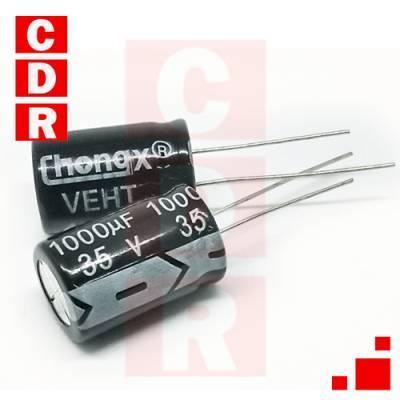 CAP. ELECTR. RADIAL 1000UF 35V 13X20 105º