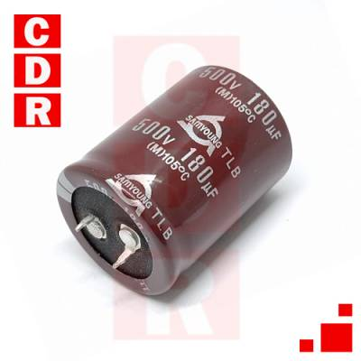 CAP. ELECTR. BLINDADO 180UF 500V 30X42.50MM SNAP-IN P:10MM SAMYOUNG