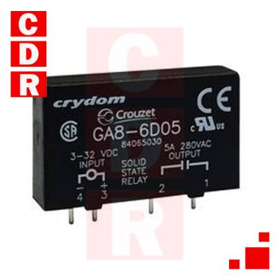 GA8-6D05 SOLID STATE RELAY PCB MOUNT 4A/240VAC ZC 3-32 DC SIP-4 CASE CRYDOM
