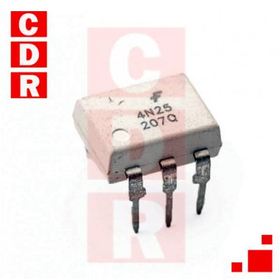 4N25 OPTOCOUPLER, PHOTOTRANSISTOR OUTPUT 30V 20% DIP-6 CASE