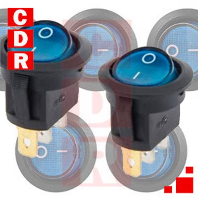 12 VDC LED ROUND ROCKER SWITCH PINES ON/OFF TOGGLE SPST