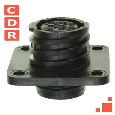 206433-1 8 POSITION CIRCULAR CONNECTOR RECEPTACLE FOR FEMALE CONTACTS PANEL MOUNT, FLANGE AMP
