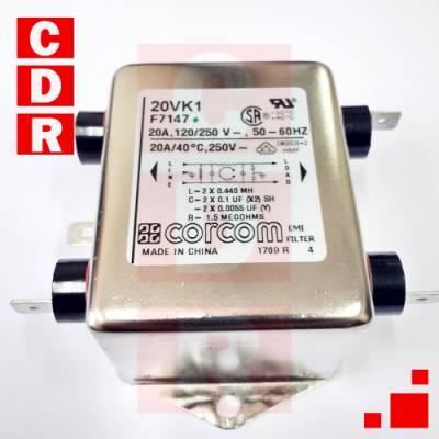 FILTRO DE LINEA 20A CHASIS 65X52X39 METALICO 20VK1 CORCOM