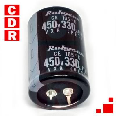 CAP. ELECTR. TERMINALES SNAP IN 330UF 450V 30X45 RUBYCON