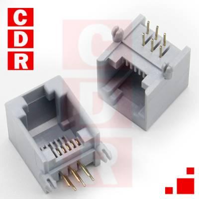 CONECTOR RJ12 HEMBRA 6P6C P/C.I. GRIS