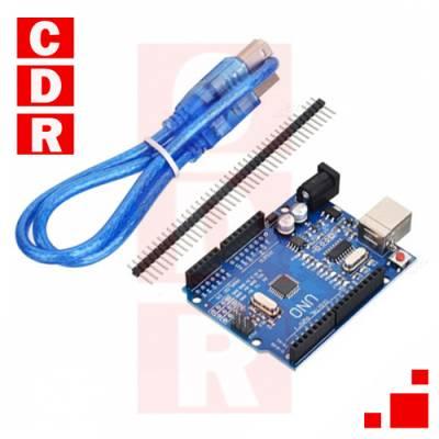 ARDUINO UNO R3 ATMEGA328-P-AU SMD C/CHIP CH340 CON CABLE USB COMPATIBLE