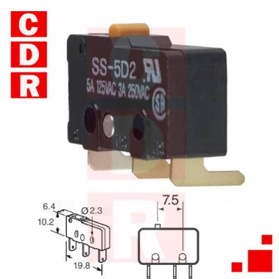 SS-5D2 SWITCH SNAP ACTION SPDT 5A 125V OMRON