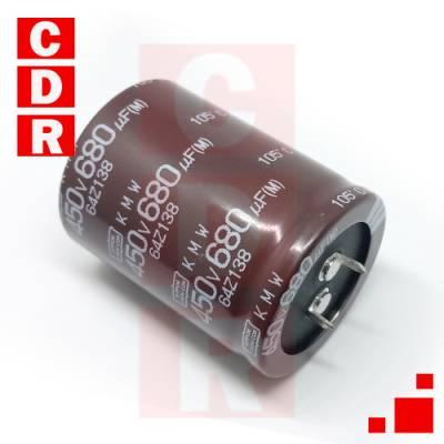 CAP. ELECTR. BLINDADO 680UF 450V 105ºC SNAP IN 35X45MM NIPPON CHEMI-CON