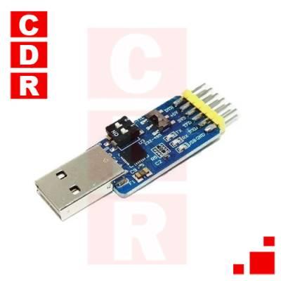 CONVERSOR 6 EN 1 CP2102 USB A TTL/485/232 3.3V/5V C/CABLE