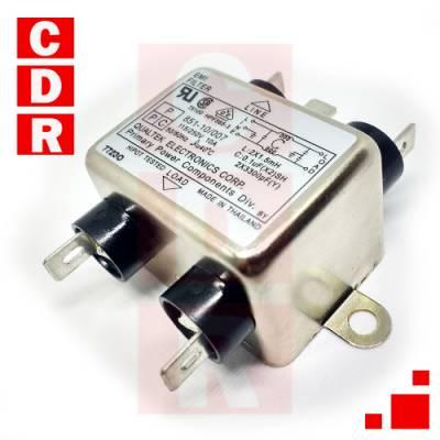 FILTRO DE LINEA 10A CHASIS 851-10/007 44X54X30MM 115/250VAC QUALTEK
