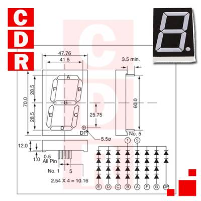 7 SEGMENT LED DISPLAY RED 20MA 8.4V 7.8MCD 1 58.42MM (AND-2307SAL)