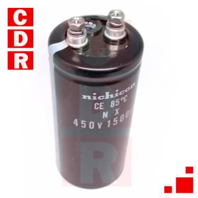 CAP. ELECTR. RADIAL 1500UF 450V 85° 111X53MM PASO:23MM SCREW NICHICON