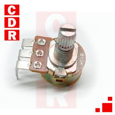 CARBON POTENTIOMETER, 10K LINEAR, W/KEY, 16MM, WITH 90º TERMINALS FOR PCB