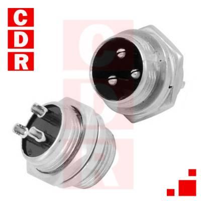 CONECTOR DE MICROFONO DIN 3 PATAS MACHO/CHASIS C/ROSCA