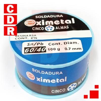 ESTAÑO 60/40 0.7MM 100GR EXIMETAL