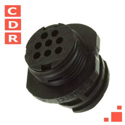 205841-2 8 POSITION CIRCULAR CONNECTOR RECEPTACLE FOR MALE CONTACTS PANEL MOUNT, FLANGE AMP