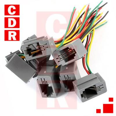 CONECTOR RJ9 HEMBRA 4P4C C/CABLES 20CMS. S/TERM.