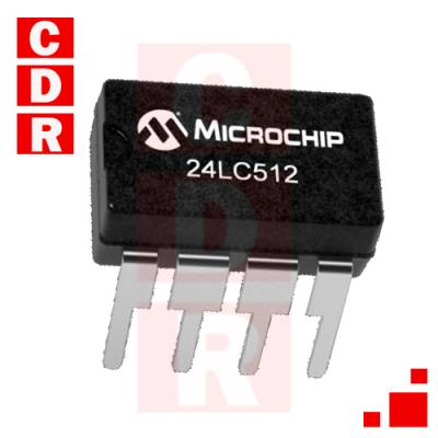 24LC512-I/P 512K I2C CMOS EEPROM DIP-8 CASE MICROCHIP