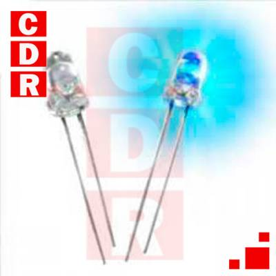 LED 5MM AZUL 3000-4000MCD. 30MM TERMINALES 20 GRAD. WATER CLEAR