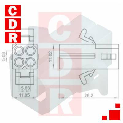 0469990653 2163-R1 Power to the Board 093 Pwr Conn Rcpt PnlMnt Pre-Bent 4Ckt (5.03MM)