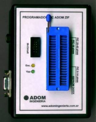 PROGRAMADOR PIC ADOM CON ZOCALO ZIF USB PLUS
